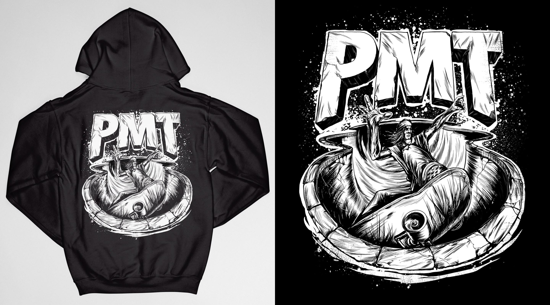 Black PMT hoodie, back