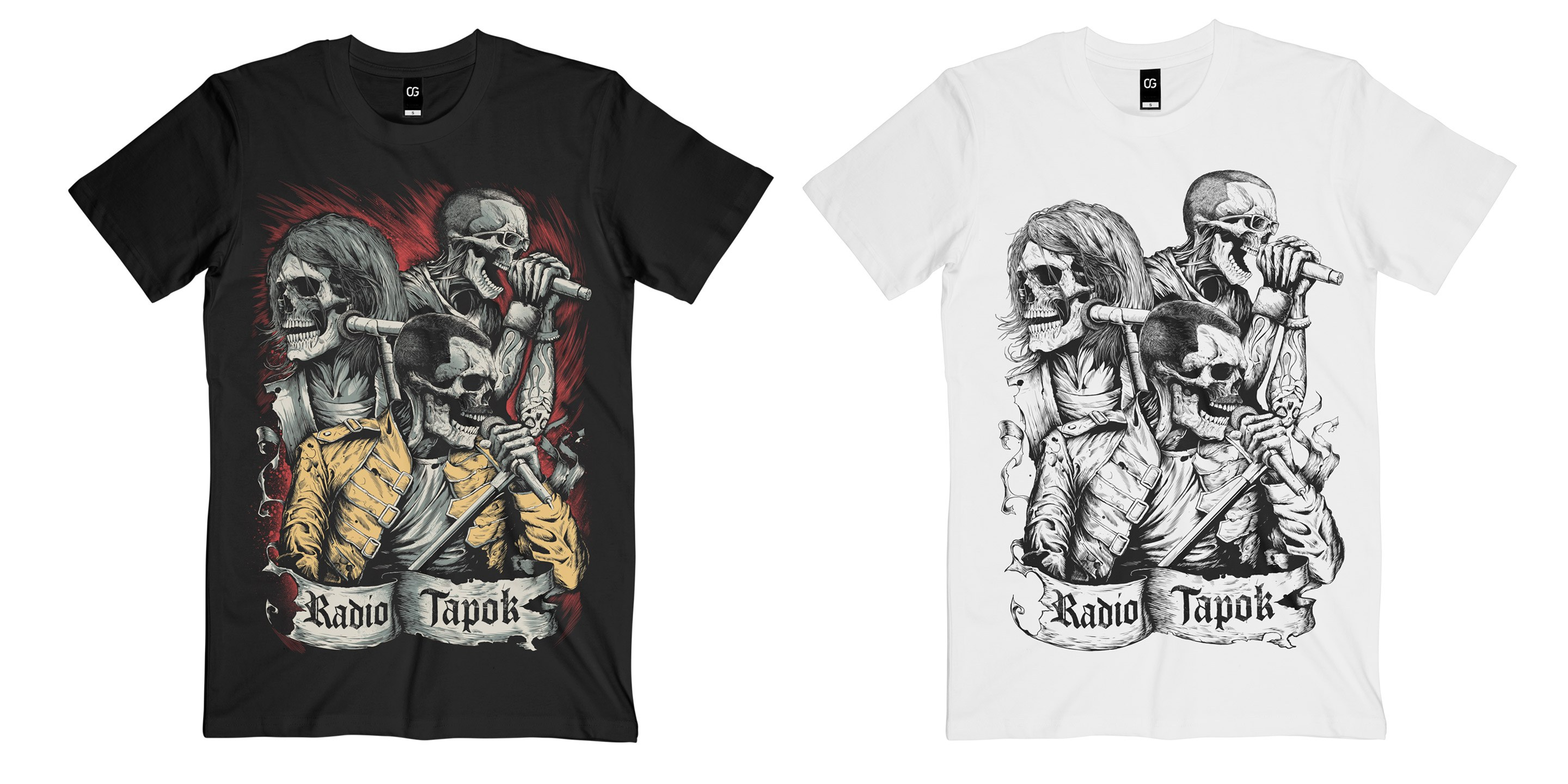 "T-Shirt ""Radio Tapok"", black and white"