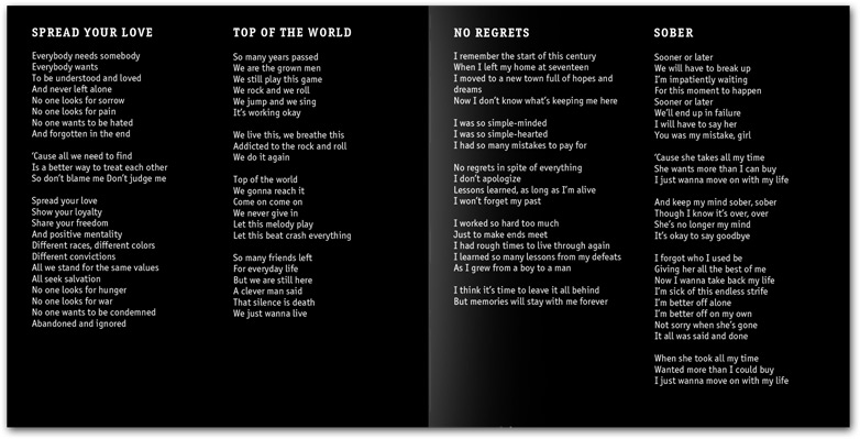 Booklet with the songs lyrics