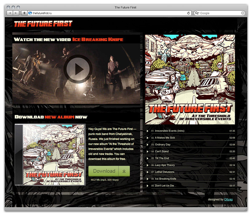 """Promo web site for the band's new album: <a href=""""http://thefuturefirst.ru"""">www.thefuturefirst.ru</a>"""